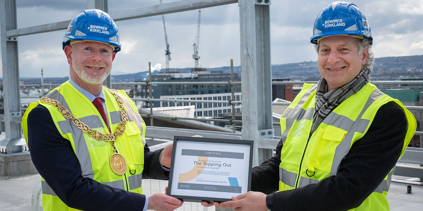 CADWORKS TOPPING-OUT MARKED BY LORD PROVOST OF GLASGOW AND CLLR. ANGUS MILLAR